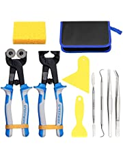 SPEEDWOX 10PCS Heavy Duty Glass Mosaic Nippers Tile Cutting Pliers Set with Tweezers Scrapers Double-ended Hook Spatula Sponge Leather Zipper Bag Stained Glass Tools Mosaic Tools Kit