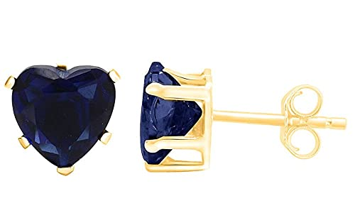 Wishrocks Round Cut Simulated Blue Sapphire Cluster Ring in 14K Yellow Gold Over Sterling Silver