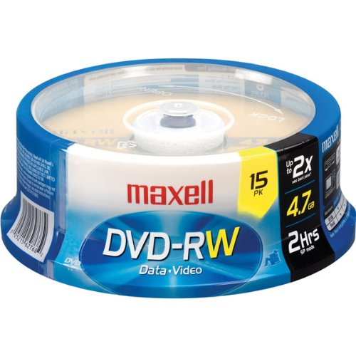 Maxell 2x Rewritable DVD-RW Spindle - 15 Disc Spindle by Maxell