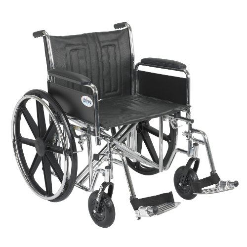 Drive Medical Sentra EC Heavy Duty Wheelchair with Various Arm Styles and Front Rigging Options, Black, Bariatric, 22 Inch ()