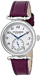 Akribos XXIV Women's AK704PU Impeccable Swiss Quartz Silver-tone Stainless Steel Purple Leather Strap Watch
