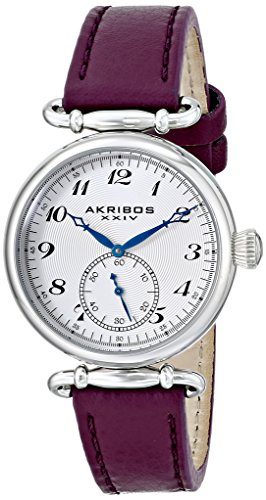 Akribos XXIV Women's AK704PU Impeccable Swiss Quartz Silver-tone Stainless Steel Purple Leather Strap Watch