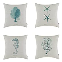 Elviros Linen Cotton Blend Decorative Cushion Cover Throw Pillow Case 18x18 inch - Set of 4 pcs Sea Horse Star Plants