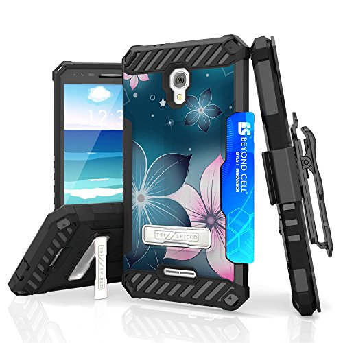 Alcatel Fierce 4 (Metro PCS) - Accessory Bundle with [Mystical Flowers] Tri-Shield Holster Case, Atom LED and Tempered Glass Screen Protector