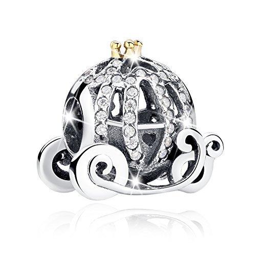 Bamoer Sterling Silver Golden Pumpkin Princess Carriage Charms Fit DIY Snake Chain Bracelet (Silver Pumpkin Sterling)