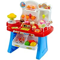 Ramakada Supermarket Shop Play Set Toy with Sound Effects, Multi Color (Red)