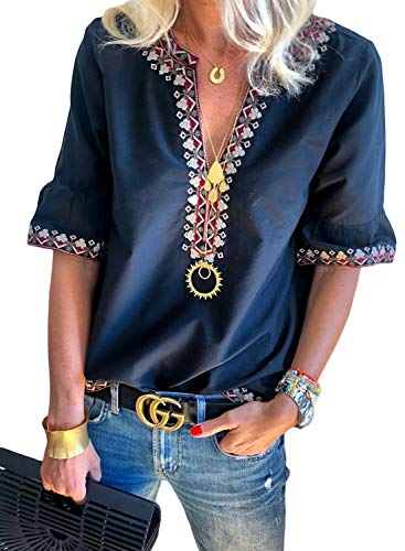 - LOSRLY Womens Flowy Boho Embroidered Plus Size T-Shirt Summer V Neck Short Sleeve Tops Tribal Printed Casual Maternity Blouses Blue XXL