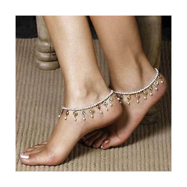 WeiMay 1 X Crystal Pearl Beaded cavigliera catena donne braccialetto alla caviglia sandalo a piedi nudi accessori da… 7 spesavip