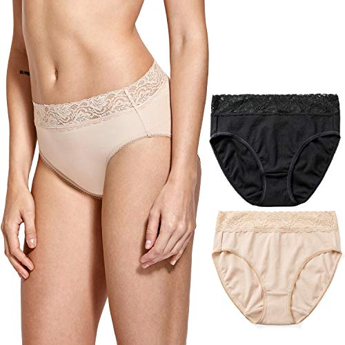 DELIMIRA Women's Floral Lace Cotton Panties High Cut Bikini Hipster Underwear,2 Pack Black/Beige-Hipster ()