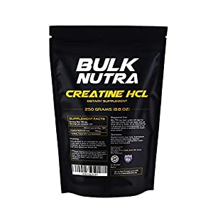 Bulk Nutra Pure Creatine HCL Powder in Bulk Form – Increase Physical Performance – Your Alternative to Pills and Capsules – 250g (8.8 Oz) in a Bag