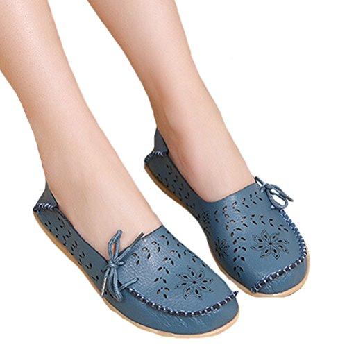 Mordeniss Damen Casual Einfarbig Mokassins Leder Loafer Schuhe Stil 2-hellblau