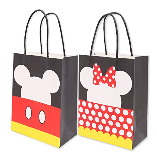 Mickey Minnie Inspired Paper Gift Bags Kids Birthday Party Favor Supplies Pack of 12 -