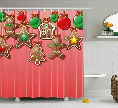 - Ambesonne Gingerbread Man Shower Curtain, Christmas Cookies and Baubles with Bowties Symbolic Pastry Kids Design, Cloth Fabric Bathroom Decor Set with Hooks, 70