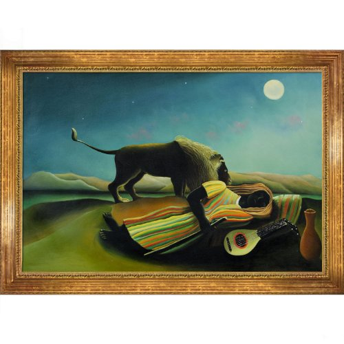 (overstockArt Rousseau The Sleeping Gypsy Oil Painting with Vienna Wood Frame, Broken Gold Leaf Finish)