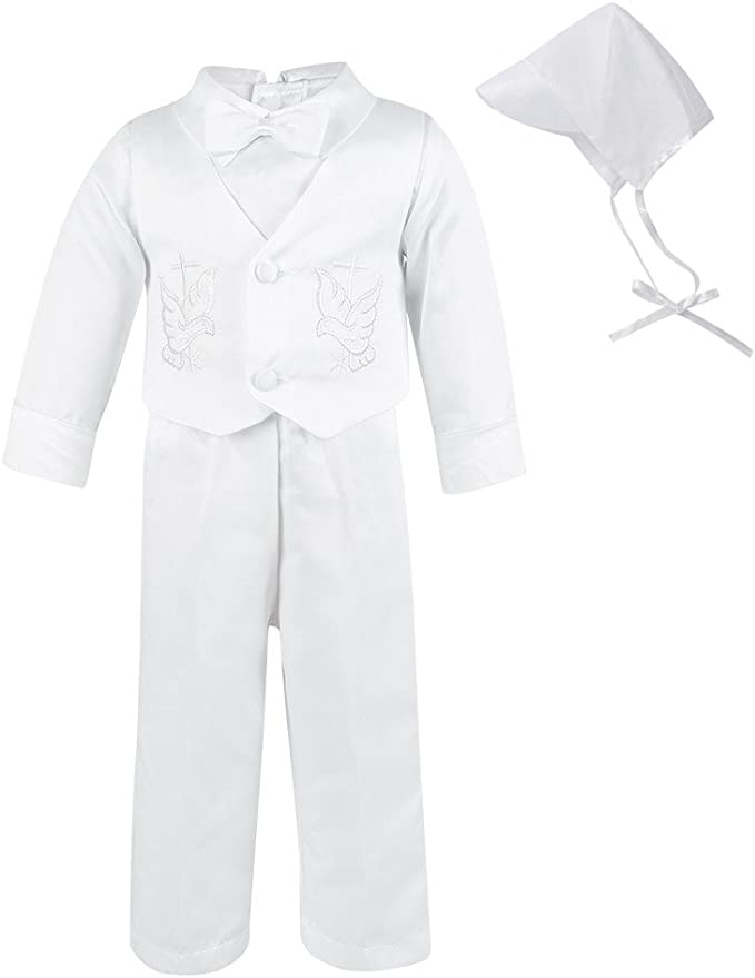 Lito Angels Baby Boys 5 Pcs Baptism Christening Outfit Formal Suit Vast Cap White