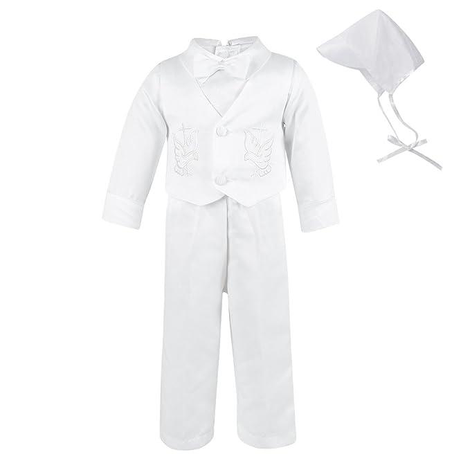LACOFIA Traje de Bautizo Blanco para bebé niño Ropa de Boda de Bautizo Bordado para niño con Manga Larga 4 Piezas