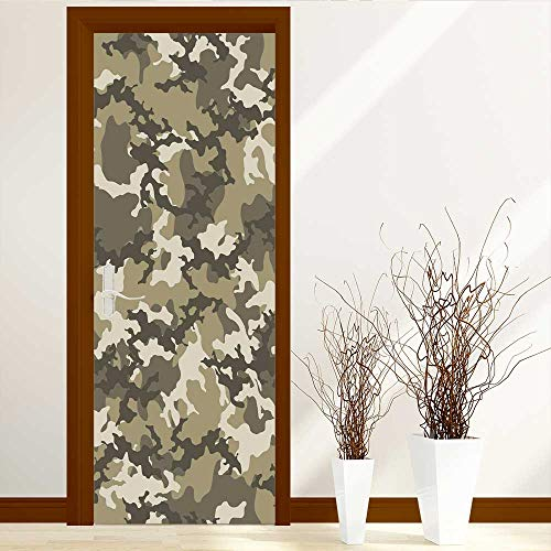 L-QN Glass Film for Home Office Fashionable Camouflage Seamless Paper Static Cling Glass Film W38.5 x H79