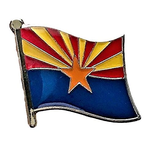 """Backwoods Barnaby Arizona State Flag Lapel Pin/U.S. State Flags Collection (AZ broach, 0.75"""" x 0.75"""")"""