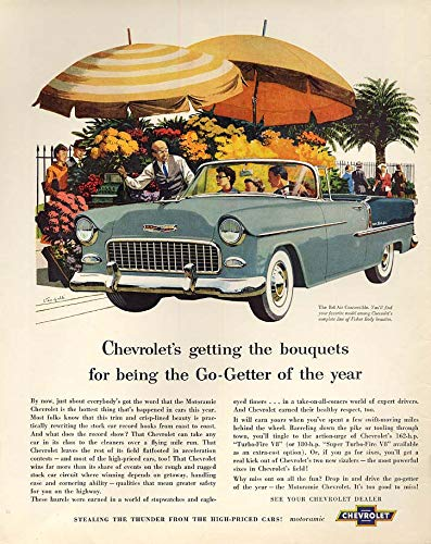 Getting bouquets for being Go-Getter: Chevrolet Bel Air Convertible ad 1955 LK