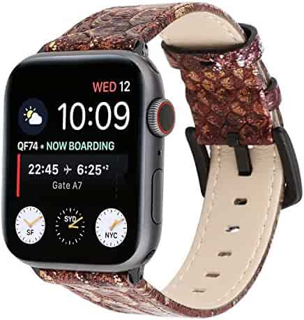 Watch Band 38mm 42mm 40mm 44mm Snake Skin Leather Watch Strap Replacement for iWatch Series 4 3 2 1 Nike+