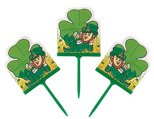 (Wilton Fun Pix Happy St. Patrick's Day Green Cupcake Toppers and Appetizer Picks - Lucky Saint Patricks Irish Clover Shamrock and Leprechaun - Party Decorations Supplies - 24)