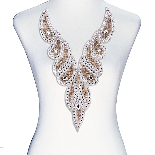 (1piece V Neck Crystal Applique Hot Fix Rhinestones Beads Scrapbooking Sewing Supplies T2395)