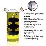 2 in 1 Twin Chef Oil and Vinegar Cruet Hand-Blown Glass Cruet, Bubble Design