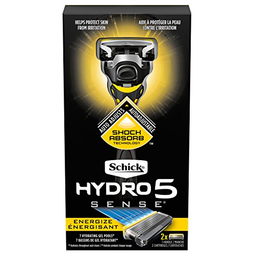 - Schick Hydro Sense Energize Razors for Men with Shock Absorbent Technology, Includes 1 Razor Handle and 2 Razor Blades Refills
