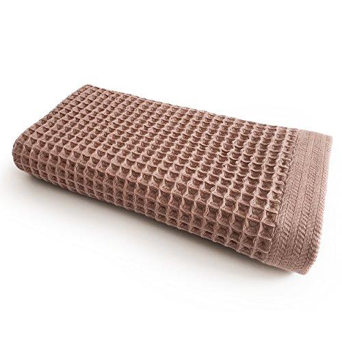 K-25 Waffle Bath Towel, Large, Ultra Absorbent, Fast Dry, Soft 100% Cotton, Lightweight, New Design k25 Los Angeles bath towels (Bath Towel, Brown) (Waffle Large)