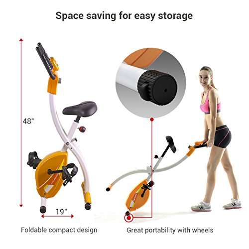 Fitleader Indoor Exercise Bike Folding Upright Bike Compact Stable Cycling Stationary Cardio Cycle