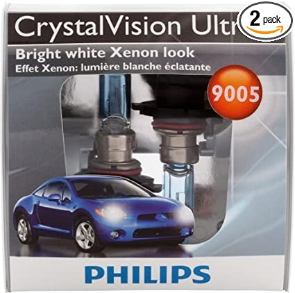 Amazon.com: Philips 9005 CrystalVision ultra Upgrade Headlight Bulb (Pack of 2): Automotive