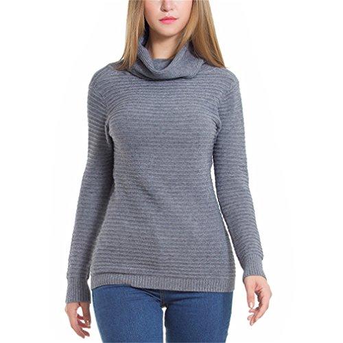 Honghu Femme Casual Manches Longues Col de Revers Pulls Automne et Hiver Sweater One Size Gris