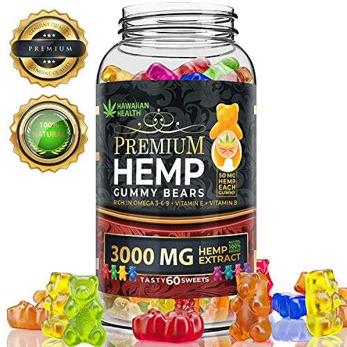 Hemp Gummies Premium 3000 Milligram High Potency - 50 Per Fruity Gummy Bear with Organic Hemp Oil | Rich in Omega 3-6-9
