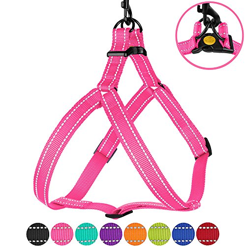 CollarDirect Reflective Dog Harness Step in Small Medium Large for Outdoor Walking, Comfort Adjustable Harnesses for Dogs Puppy Pink Black Red Purple Mint Green Orange Blue (Medium, Pink)