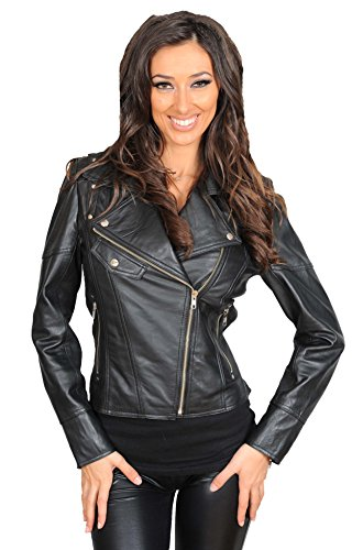 nera Giacca Jessica moda pelle donna motociclista con Ultima cerniera alla in moda alla giacca stile UUn61rP