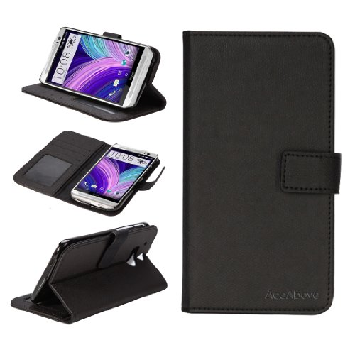 AceAbove All New HTC One M8 Case - Premium Folio Wallet Leather Case with Stand for HTC One M8, All-in-one HTC One M8 Case with Credit Card ID Holder (Black)