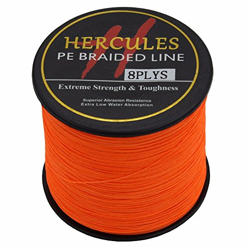 HERCULES 500m 547yds Orange 10lbs-300lbs Pe Braided Fishing Line 8 Strands (50lb/22.7kg 0.37mm)
