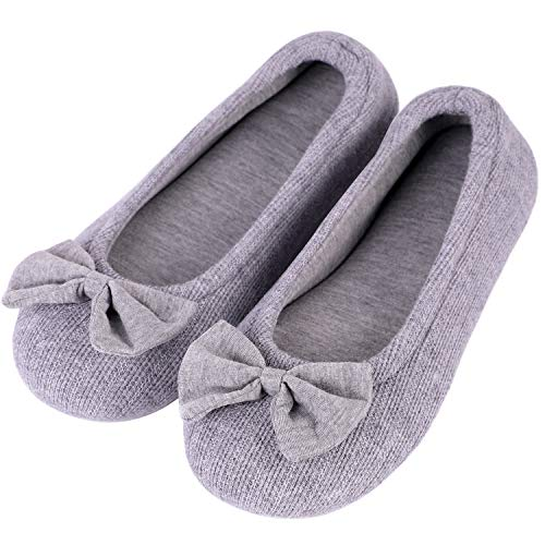 HomeTop Women's Comfy Cotton Knit Memory Foam Ballerina Slippers Light Weight Terry Cloth House Shoes w/Stretchable Heel Design (Large / 9-10 B(M) US, Gray)