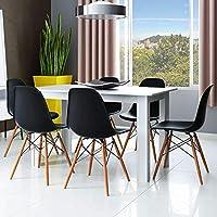 Conjunto de Mesa 5231 Branca com 6 Cadeiras Eames Base Madeira Preta