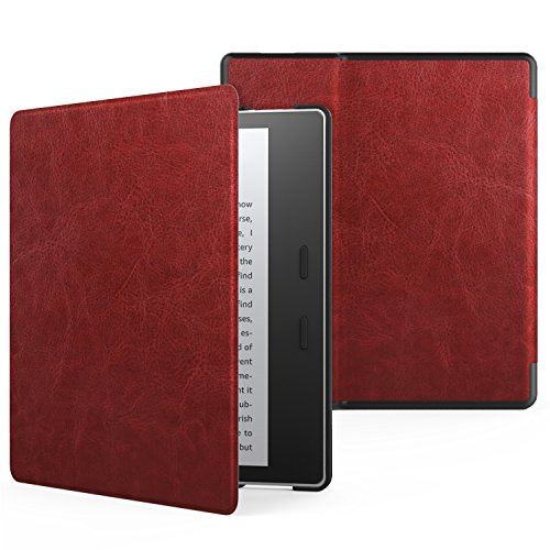 MoKo Case for All-New Kindle Oasis (9th Generation, 2017 Release) - Premium Ultra Lightweight Shell Cover with Auto Wake / Sleep for Amazon Kindle Oasis E-reader Case, Wine Red