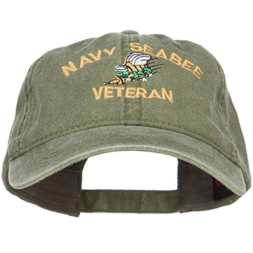 E4hats US Navy Seabee Veteran Military Embroidered Washed Cap - Olive OSFM
