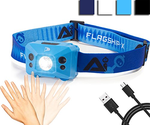 INSANE Sale! Flagship-X AI USB Rechargeable Hands Free Motion Sensing Waterproof LED Camping AI Headlamp Flashlight For Running - Light Blue