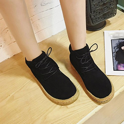 Amiley Mujer Ladies Soft Flat Tobillo Martin Zapatos Al Aire Libre Female Suede Pu Leather Lace-up Botas Negro