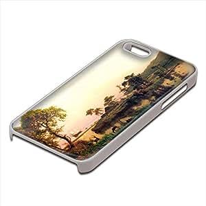 Bierstadt - Gosnold On Cuttyhunk 1602, Custom Design Blanco PC Ultradelgado Caso Duro Carcasa Funda Protección Tapa Hard Case Cover con Diseño Colorido para Apple iPhone 5 5S.