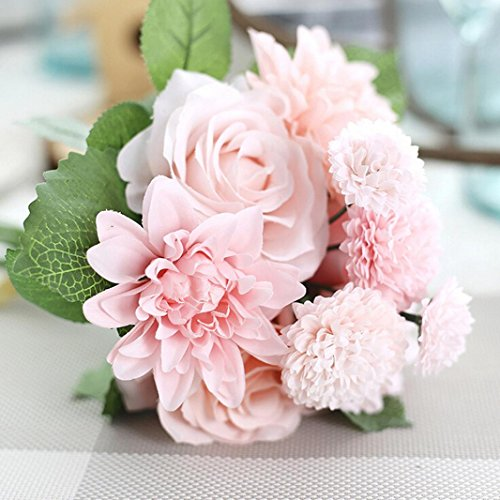 Yezijin Artificial Silk Fake Flowers Leaf Rose Floral Wedding Bouquet Party Home Indoor Outside Decor (Pink)