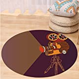 VROSELV Custom carpetVintage Decor Classic Movie Theater Machine with Cinema Fest Typography Past Filmmaker for Bedroom Living Room Dorm Brown Purple Round 47 inches