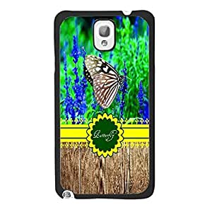 Bright Pattern & Colorful Butterfly Print Hard Back Plastic Shell Case for Samsung Galaxy Note 3 N9005 Cell Phone (wood pattern balcks1158)