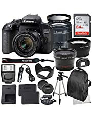 $749 » Canon EOS 800D DSLR Camera with 18-55mm is STM Lens & Deluxe Accessory Bundle – Includes: SanDisk Ultra 64GB SDHC Memory Card + Wide Angle Lens Attachment + Telephoto Lens Attachment + More