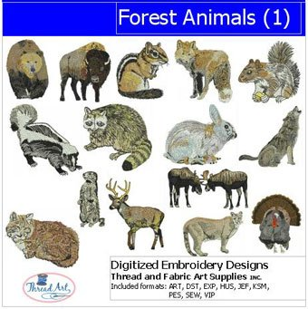 Threadart Machine Embroidery Designs - Forest Animals(1) - USB Stick