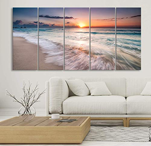 - Ocean View Wall Art by My Great Canvas | X-Large 5 Piece Framed Hanging Multi Panel Print | High Resolution Color Photo of Beach Sunset Horizon on Canvas | Ready to Hang, 3 Extra Large Sizes